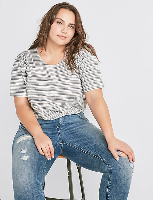STRIPE PUFF SLEEVE TOP,