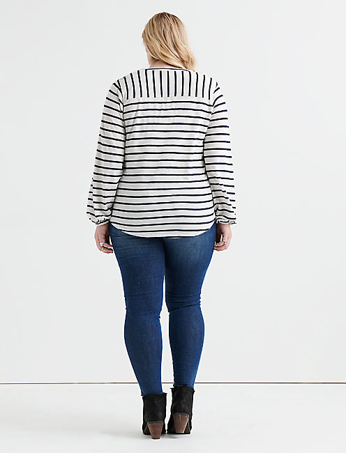 STRIPE BLOUSON SLEEVE TOP,