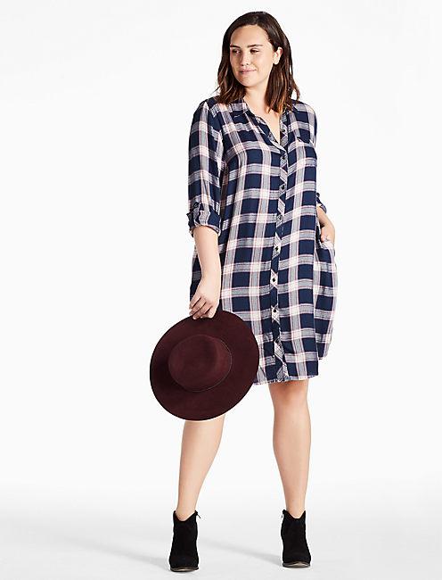 PLAID SHIRT DRESS,