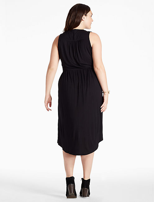EMBROIDERED DRESS, 001 LUCKY BLACK