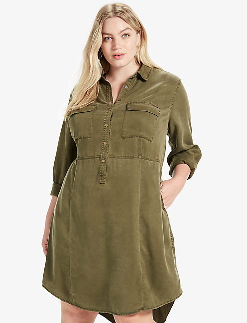 MILITARY SHIRT DRESS, #3914 GRAPE LEAF