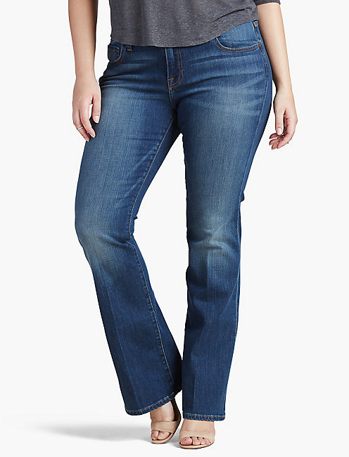 PLUS SIZE GINGER PETITE BOOTCUT JEAN IN AMAZONITE,