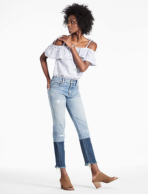 TWO-TONE HIGH RISE TOMBOY STRAIGHT LEG CROPPED JEAN,