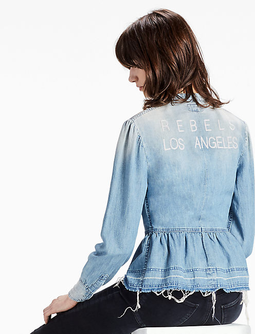 REBELS LOS ANGELES PEPLUM DENIM SHIRT,