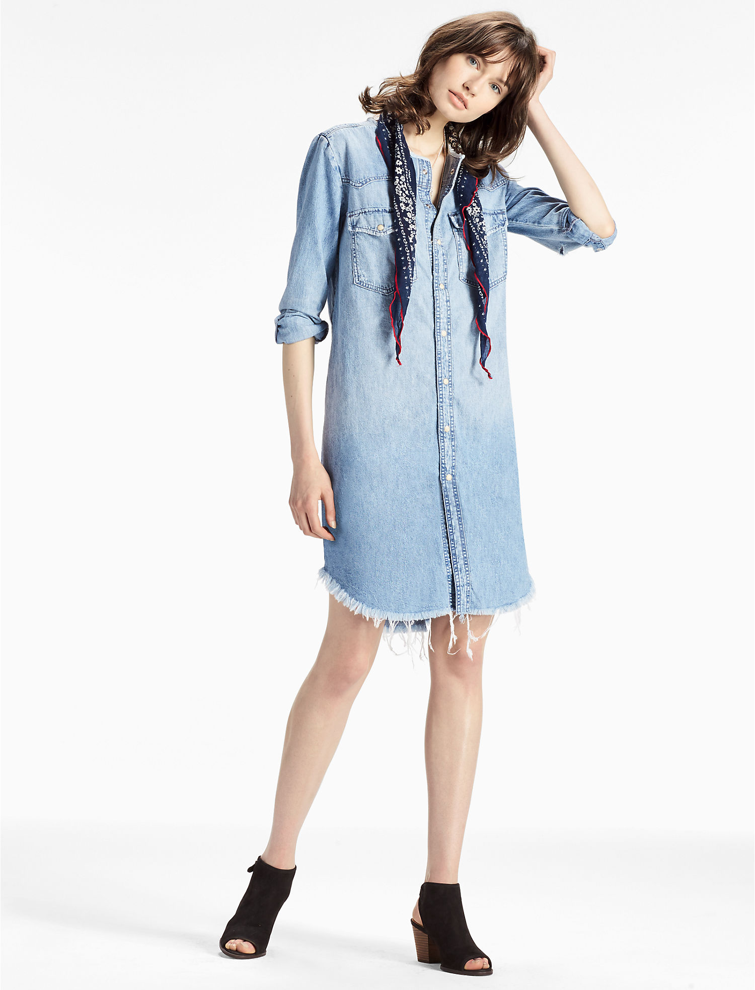DENIM WESTERN SHIRT DRESS, ...