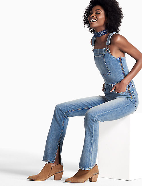 BRIDGETTE FITTED DENIM OVERALLS IN ALICE,