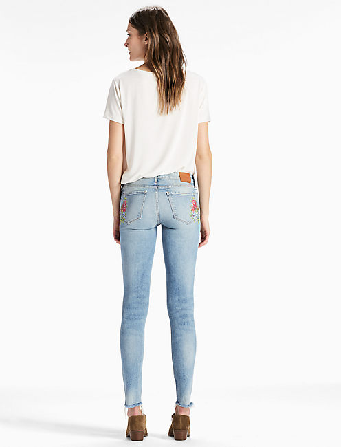 AVA MID RISE SKINNY JEAN WITH EMBROIDERY,