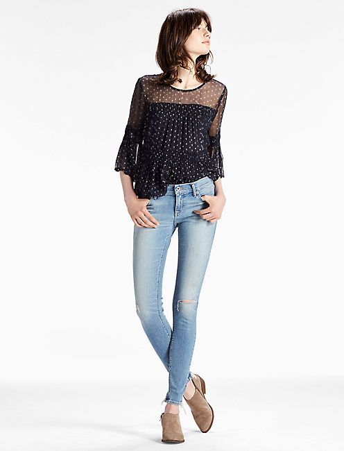 Lucky Charlie Low Rise Skinny Jean With Back Chew Hem
