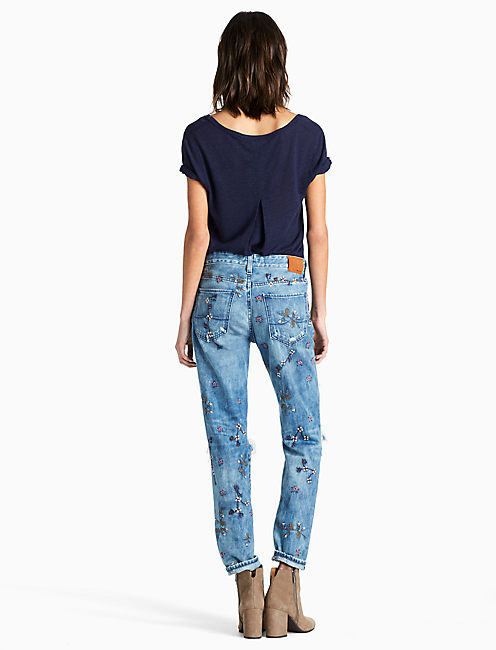 SIENNA MID RISE SLIM BOYFRIEND JEAN WITH EMBROIDERY,