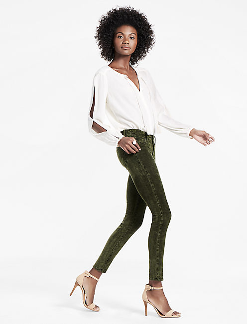 Lucky Brooke Legging Jean In Forest Green Velvet