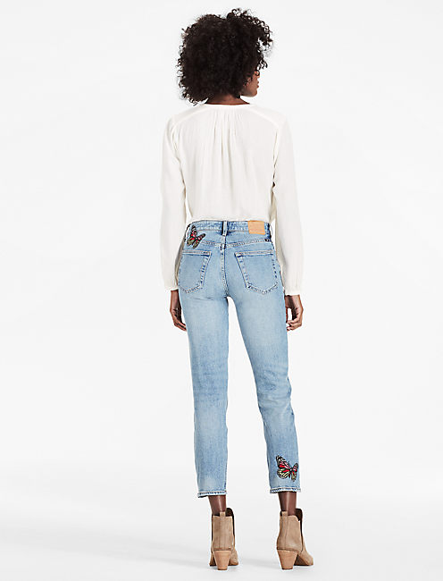 BRIDGETTE HIGH RISE SLIM STRAIGHT JEAN WITH EMBROIDERY, ALAMITOS