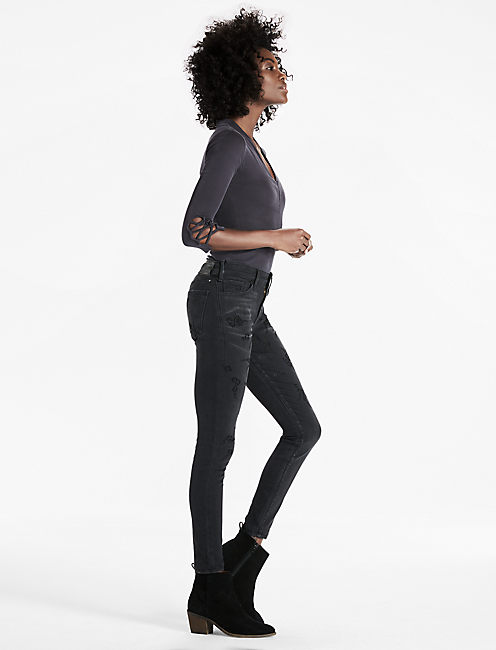 AVA SKINNY JEAN WITH VELVET FLOCKING,