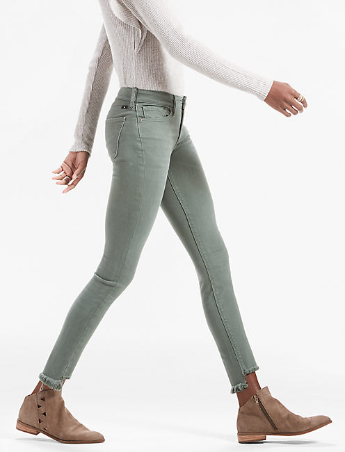 AVA MID RISE SKINNY JEAN, STEP FRAY DUCK GREEN