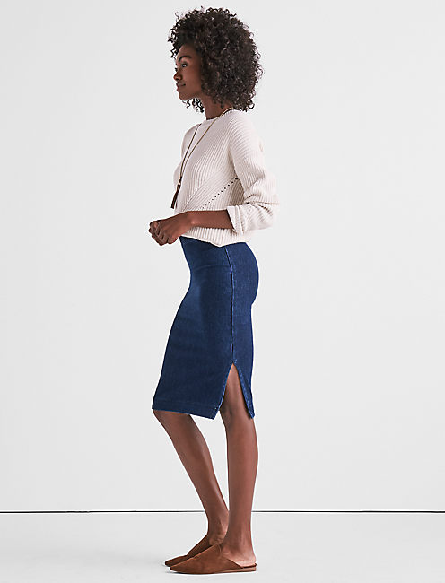 DARK KNIT DENIM SKIRT, ARBOR