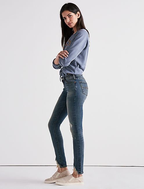 Lucky Lolita Mid Rise Skinny Jean With Front Chew