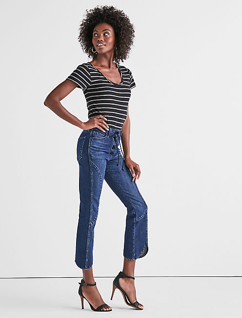 Lucky Lace Up Bridgette Crop Flare Jean In Tigris