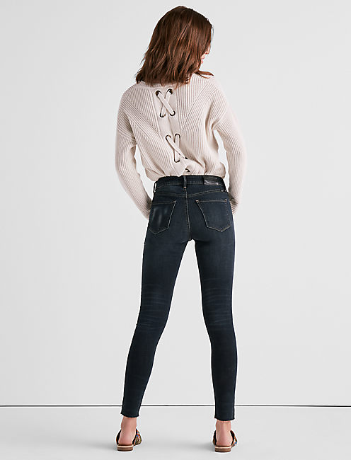 BRIDGETTE HIGH RISE SKINNY JEAN WITH ANGLED HEM,