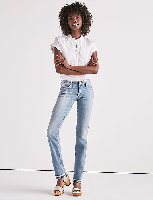 Lucky Sweet Mid Rise Straight Leg Jean With Released Hem