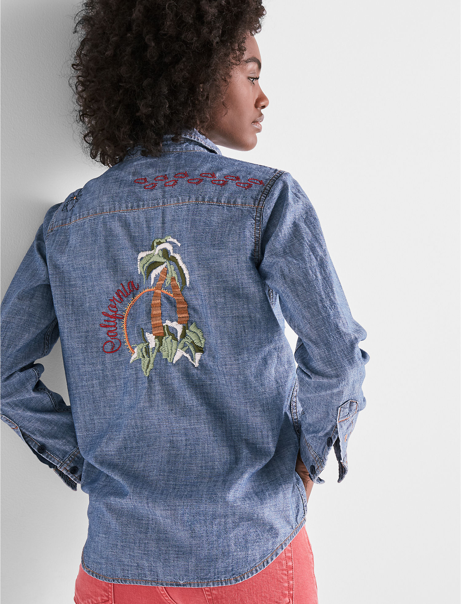 Denim Western Shirt With Embroidery | Tuggl