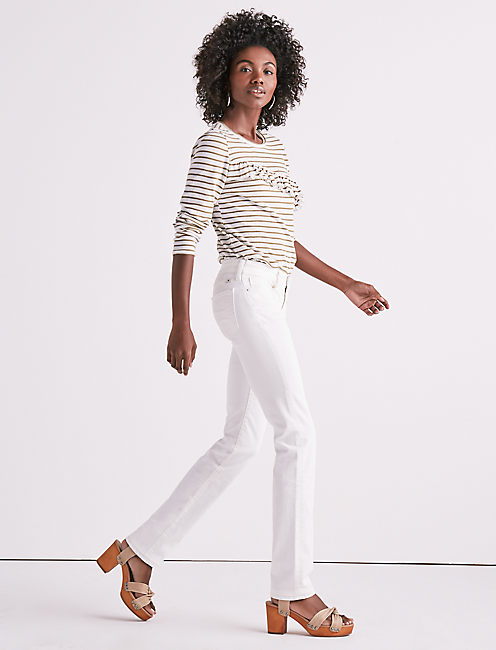 Lucky Sweet Mid Rise Straight Leg Jean In Crema