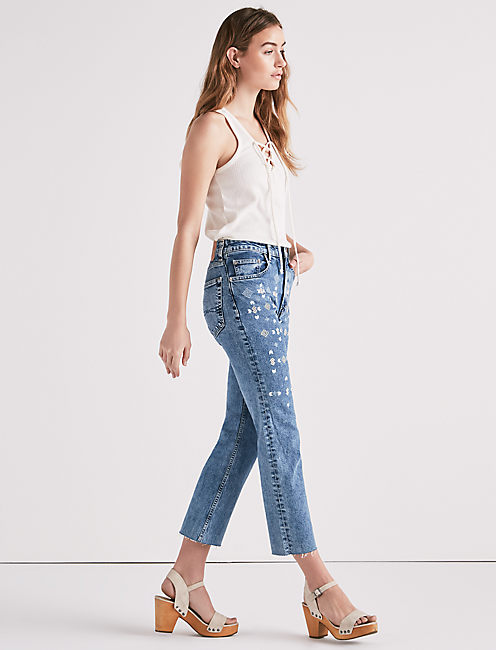 LUCKY PINS HIGH RISE CROPPED JEAN WITH EMBROIDERY, BARKER WAY