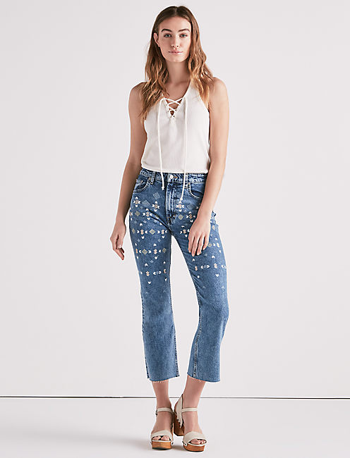 LUCKY PINS HIGH RISE CROPPED JEAN WITH EMBROIDERY,