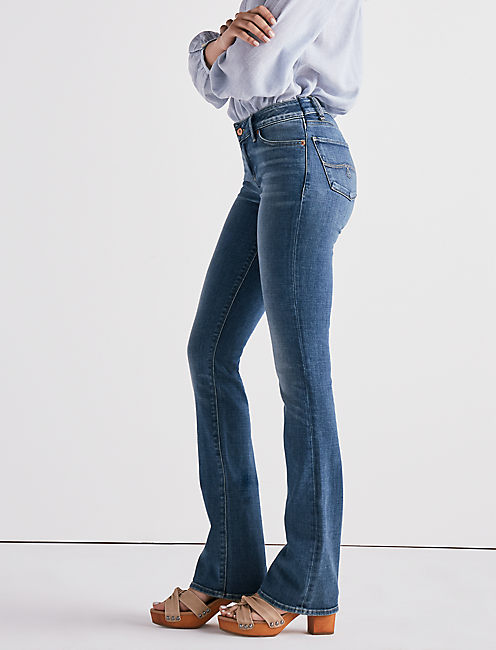 Lucky Lolita Mid Rise Boot Cut Jean In Sunset Blue
