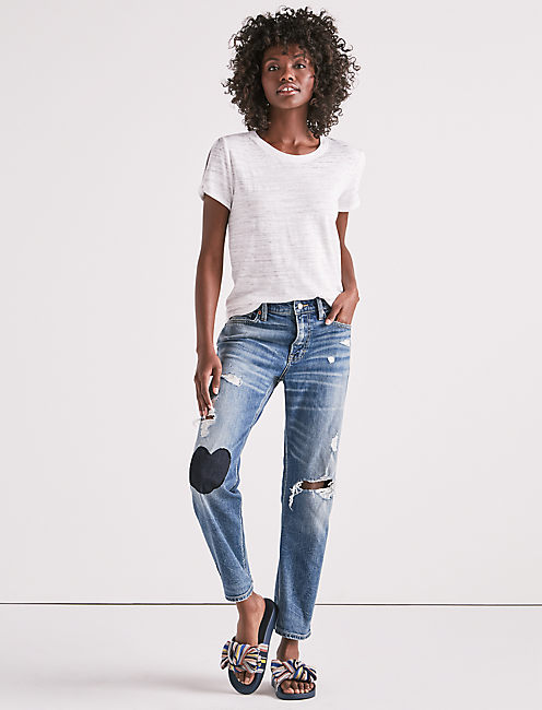 GIRL NEXT DOOR BOYFRIEND JEAN WITH HEART PATCH, BRAZOS