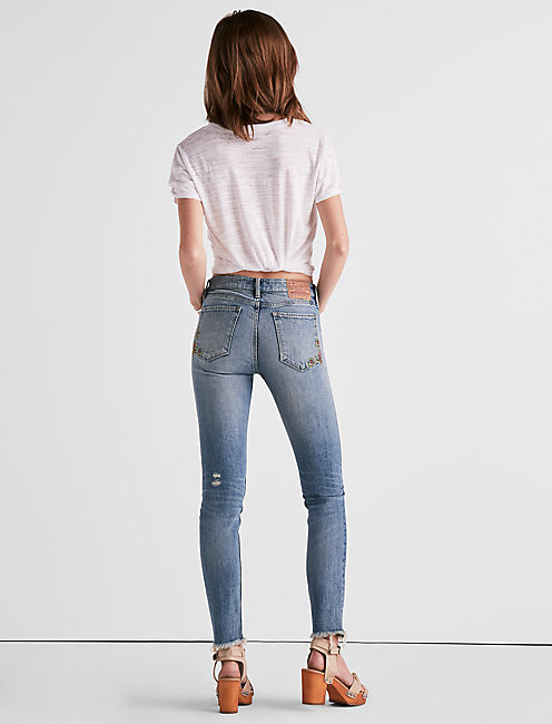 Lucky Ava Mid Rise Skinny Jean With Floral Embroidery
