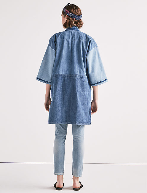 PANELLED KIMONO WITH EMBROIDERY,