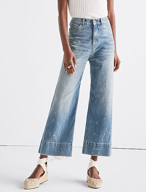 WIDE LEG DENIM CROP TROUSER IN SEA LANE, SEA LANE