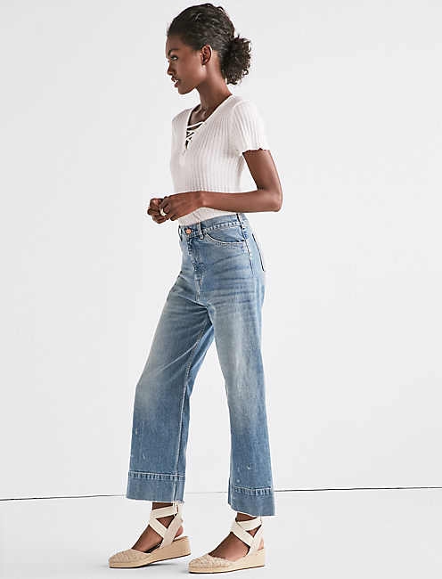 Lucky Wide Leg Denim Crop Trouser In Sea Lane
