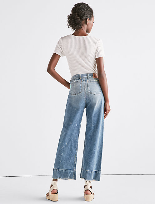 WIDE LEG DENIM CROP TROUSER IN SEA LANE,