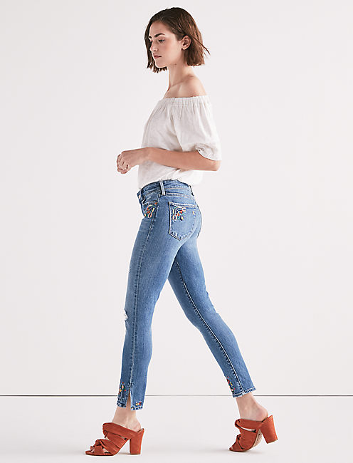 Lucky Ava Mid Rise Skinny Jean With Embroidery