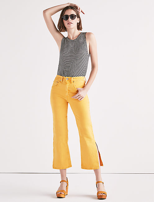 Lucky Lucky Pins High Rise Side Slit Jean In Butter Cup Yellow