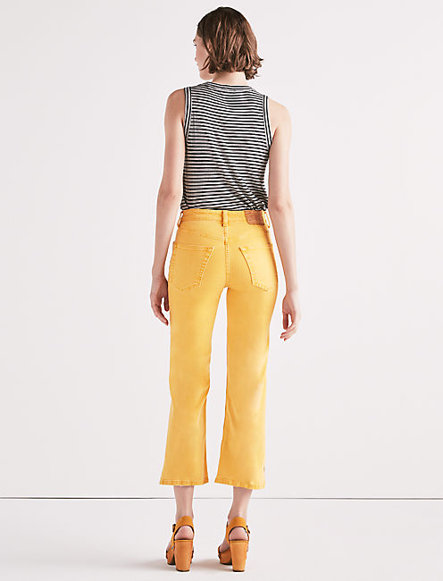 LUCKY PINS HIGH RISE  JEAN WITH SIDE SLIT, BUTTER CUP YELLOW