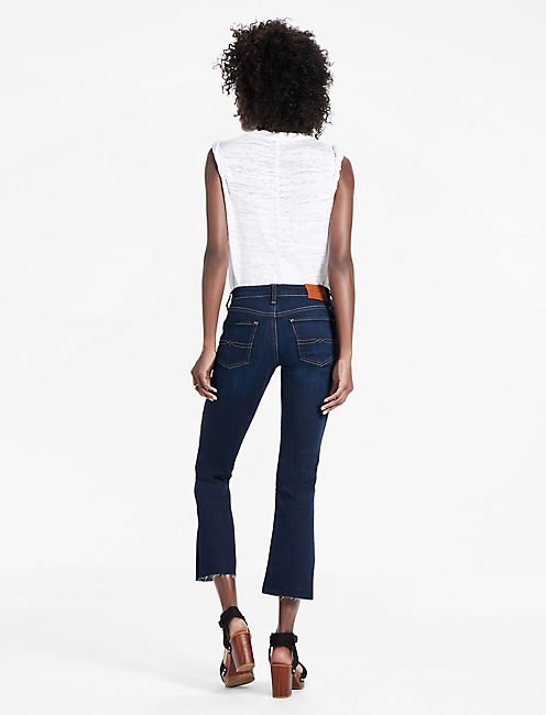 SWEET MID RISE CROPPED BOOTCUT JEAN WITH SIDE SLIT,