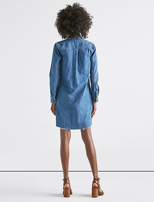DENIM POPOVER DRESS,