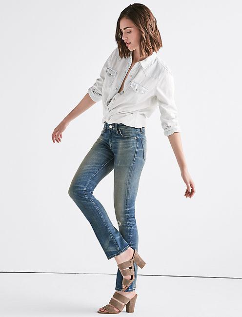 Sweet Mid Rise Tinted Straight Jean, HOOD