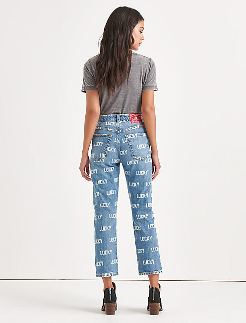 Lucky Totally Lucky Lucky Pins Allover Printed Taper Jean