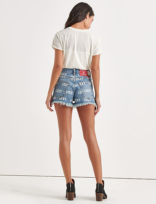 Totally Lucky Lucky Pins Allover Printed Shorts, NINETIES BLUE