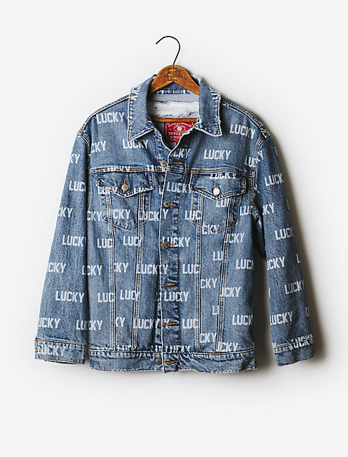 Totally Lucky Allover Printed Boyfriend Trucker Jacket,