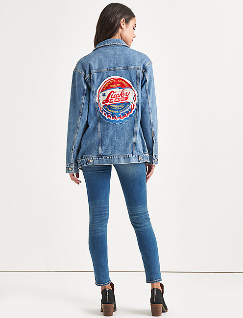 Totally Lucky Patch Boyfriend Trucker Jacket,