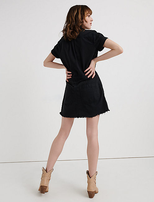 DRAWSTRING DRESS, 001 LUCKY BLACK