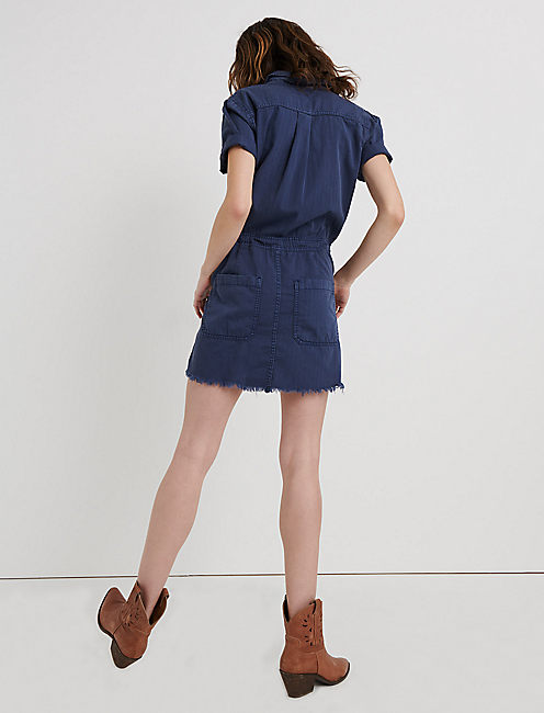 DRAWSTRING DRESS, PERFECTLY WORN BLUE