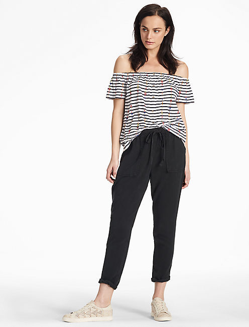 TENCEL TWILL PANT, WASHED BLACK