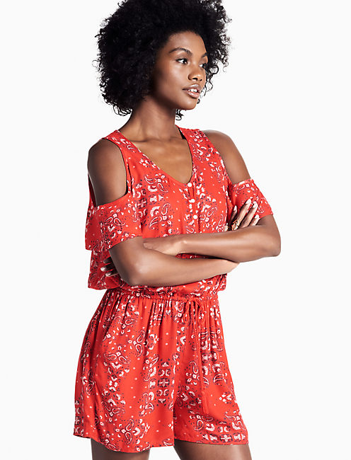 RED PAISLEY ROMPER,