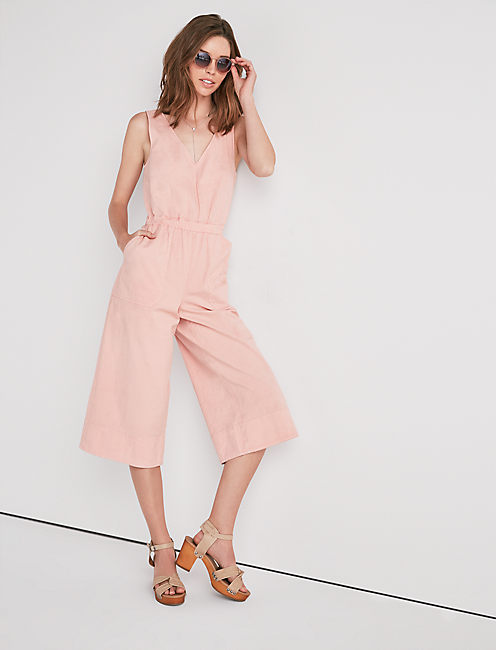 CULOTTE CROPPED ROMPER, EVENING SAND