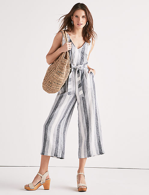 STRIPE TIE BACK JUMPSUIT,