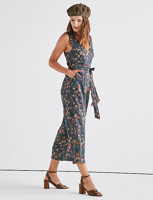 FLORAL TIE BACK JUMPSUIT, MULTI